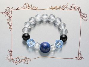 天然石×ガラスリング (ブルー)