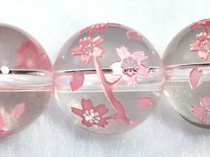 水晶桜彫り(枝)10mm、12mm