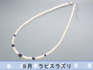 淡水パール誕生石ネックレス (ラピスラズリ)