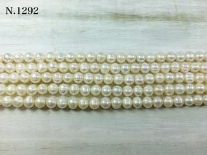 淡水パール ホワイト 8~9mm 1,2mm穴