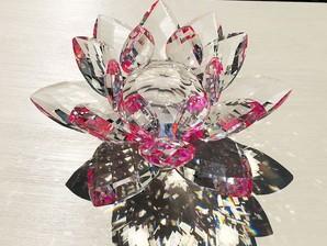 サンキャッチャー置物(蓮)大 ピンク