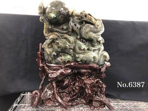 龍彫り物 ラブラドライト 中 No、6387