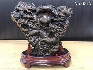 龍彫り物 タイガーアイ 1 No,6317